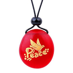 BestAmulets Amulet Frosted海ガラスストーンAdorable Dove Peace Pigeon Good Luck Powersロイヤルレッド調節可能なネックレス