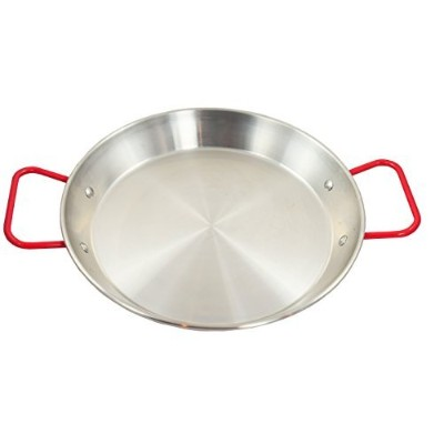 (23cm) - Sunrise Stainless Steel Paella Pan with Red Handle (23cm)