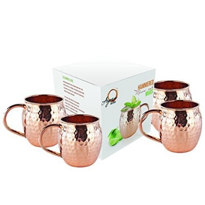 Set of 4 Moscow Mule Mug - 100% Pure Solid Copper Mugs, 470ml Unlined, No Nickel Interior,...