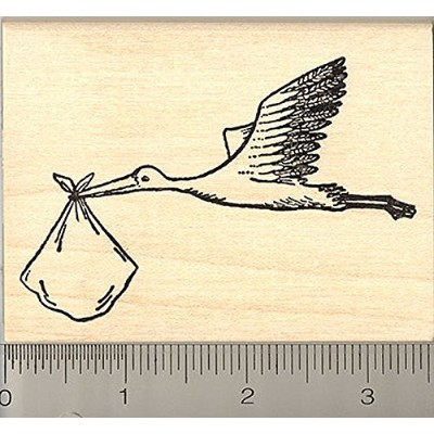 Stork Rubber Stamp, Carrying Baby Bundle, Birth Announcement
