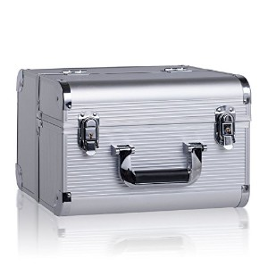 (Silver) - Rowling Cosmetic Makeup Train Case and Jewellery Box Cosmetic Organiser Ac001 (SILVER)