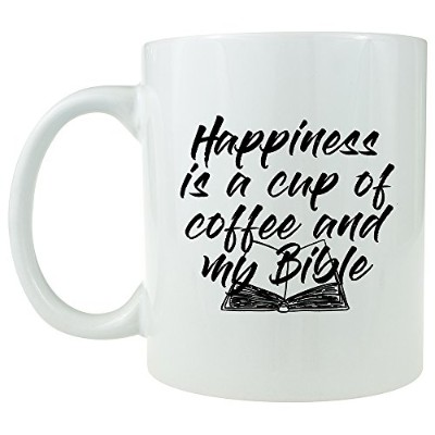 Happiness Is A Cup Of Coffee And My Bible–セラミックコーヒーマグ–Inspirationalのギフトに ホワイト