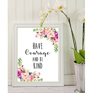 壁アート – Have Courage and Be Kind – ママギフト – 先生gift- Small sign-印刷可能Quote – Motivational – 壁装飾 –...