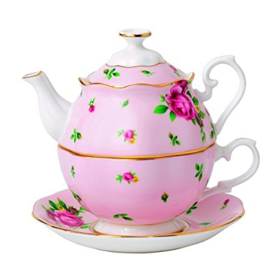 (NEW COUNTRY ROSES PINK TEA FOR ONE, Pink) - Royal Albert New Country Roses Tea Party Pink Tea for...