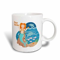 3drose Belinha Fernandes – キッズHappy誕生日 – Happy誕生日Mermaid with Fish and Cute Dolphins – マグカップ 11-oz...
