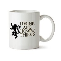 I Drink and I Know Things Funny現代デザインホワイトコーヒーマグ – 磁器 – Tea Cup – 11 oz – Great Gift