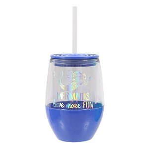 DEI Holographic StemlessワイングラスTumbler with Lid and Straw–ブルー