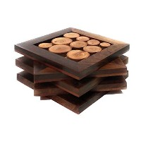 (5, 10cm x 10cm ) - Hashcart Tree Slices, Designed Coasters for Drinks-Hot & Cold/Wooden Coaster...