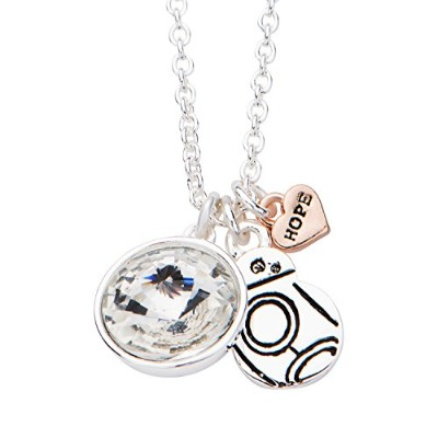 Star Wars Jewelry Women's Silver Plated Episode 7 BB-8 with Clear Gem Pendant Choker Necklace,...