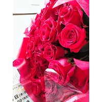 PURIZA 真紅 生花 バラ 花束 レッド 結婚記念日 プレゼント 薔薇 誕生日祝い 贈り物 母の日 花 (30)