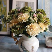Htmeing 10 Heads Artificial Silk Gerbera Daisy Flowers Marigold Bouquet for Office Home Floral...