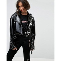 エイソス レザージャケット ASOS Faux Leather Biker Jacket in Vinyl with Shoulder Pads Black