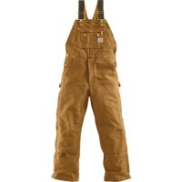 カーハート オーバーオール Carhartt Unlined Zip-To-Thigh Duck Bibs Carhartt Brown