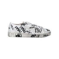 Miu Miu scribble print lace up trainers - ホワイト