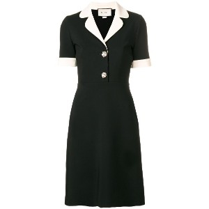 Gucci contrast trim jersey dress - ブラック
