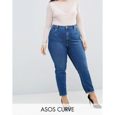 エイソス ジーンズ・デニム ASOS CURVE FARLEIGH High Waist Slim Mom Jeans in Blossom Darkwash Blossom darkwash