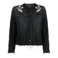 7 For All Mankind embroiderd patch denim jacket - ブラック