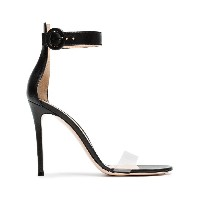 Gianvito Rossi black Portofino 105 PVC and leather sandals - ブラック