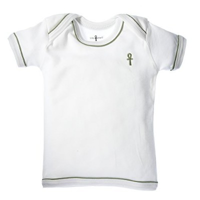 little pharo 100% Extra-Long Staple Egyptian Cotton Short-Sleeved Shirt (ivory with green piping,...