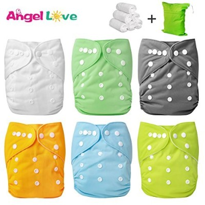 Baby Cloth Diaper, Angel Love Baby Reusable Washable All in one Size Cloth Pocket Diapers,...