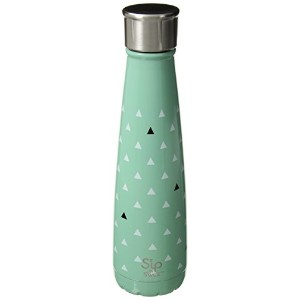 S'ip by S'well Tiny Triangles Insulated Double-Walled Stainless Steel Water Bottle, 15 oz, Blue...