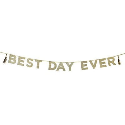 Talking Tables Say It With Glitter Hanging Garland ' Best Day Ever ' (10 ft。) の一般的なパーティー、ゴールド