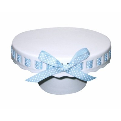 (30cm, Blue and White Polka Dot Ribbon) - Gracie China by Coastline Imports 30cm Round Porcelain...