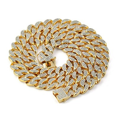 JINAO 18Kゴールドメッキ ジルコニア クラスター キューバ チェーン Hip Hop Chain CZ Micro Pave Cluster Cuban Chain (24inch)