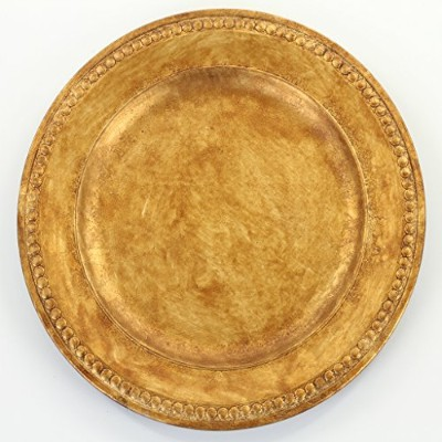 Koyal Wholesale Vintage Gold Beaded Gilt Charger Plates, 4-Pack