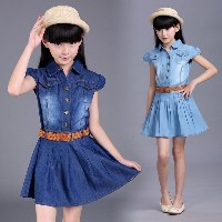 Denim Summer Women Dress Stitching Dresses For Teenagers Girls Jeans Clothing With Belt Kids Clothes