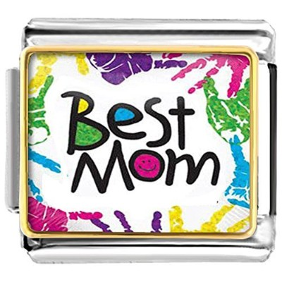 luckyjewelry Mothers Day Best Mom Nomination EtchedイタリアチャームSaleフィットブレスレットリンク