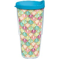 Tervis 1250468 Sun & Surf Tumbler with Wrap、24オンス、クリア