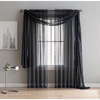 (54 W x 63 L inch - Each Panel, Charcoal) - Jane - Rod Pocket Semi-Sheer Curtains - 2 Pieces -...