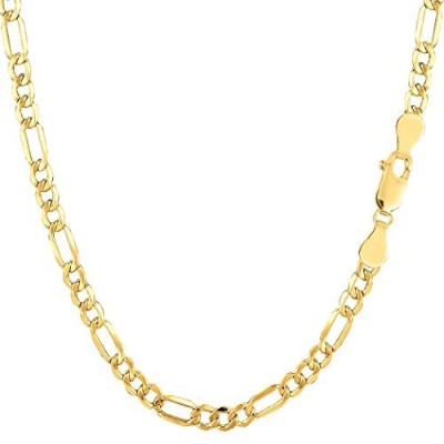 10k Yellow Gold Hollow Figaro Chain Necklace, 3.5mm, 24""