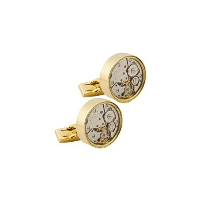 KnighthoodメンズGoldenスチームパンクWatch Movement Cufflinks for Men
