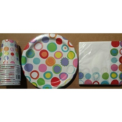Party Time Paper Plates (18), Luncheon Napkins (20) & 9 Oz. Cups with Circle Graphic by Partytime