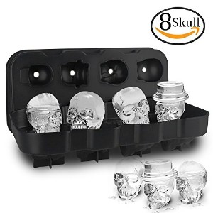 (8 Skull Black) - HoneyHolly 3D Skull Ice Cube Mould With Lid, Flexible Food Grade Silicone Ice...