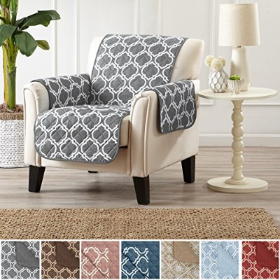 (Chair, Lattice Grey) - Adalyn Collection Deluxe Reversible Quilted Furniture Protector. Beautiful...