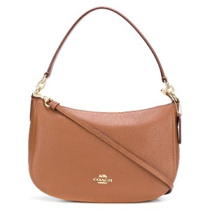 Coach zipped logo shoulder bag - ブラウン