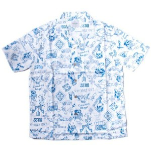 fuct, safe at home aloha shirt, blue