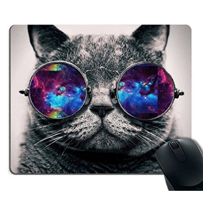 Smooffly Gaming Mouse Pad Custom,Galaxy Hipster Cat Wear Color Sunglasses Mouse pad 9.5 X 7.9 Inch ...