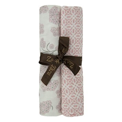Zack & Tara Swaddle - Thick 'n' Thin Pack - Beautiful Blossoms & Traquil Trellis in Pink by Zack &...