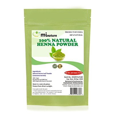 100% Pure & Natural Henna Powder For Hair Dye/Color - Lawsonia Inermis by mi nature (227 Gram)