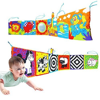 Infant Kid Baby Crib Gallery High-Contrast Development Puzzle Zoo Cloth Book Toy by BabyPrice