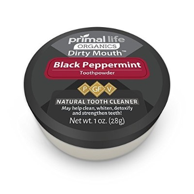 Dirty Mouth Organic Whitening Toothpowder Black Peppermint (1 oz jar 3mo Supply) Healthiest...