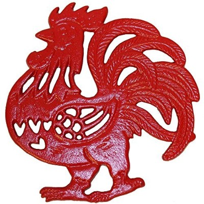 Rustic Country Red Rooster Trivet - Cast Iron - Wall Hanging or Counter Top
