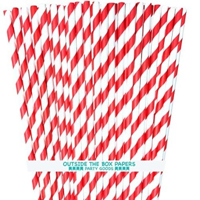 OUtside the Box Papers Striped Paper Straws 7.75 Inches Red, White by Outside the Box Papers