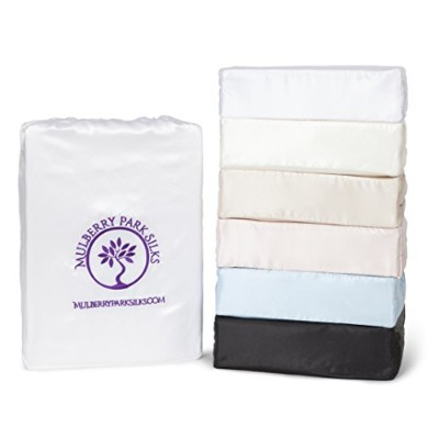 """Mulberry公園シルク22匁シルク寝具シートセット–ホワイト Queen Sheet Set (17"""" Pocket) ホワイト"""