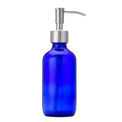 Petite Blue Glass Soap and Lotion Dispenser with Stainless Steel Pump - 240ml