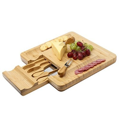 Kagura Bamboo Cheese Board Cracker Serving Cutlery Set with Slide-Out Drawer Plate Knives kit -...